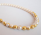 Necklace /pearl×gold foil